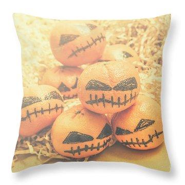 Spooky Halloween Oranges Throw Pillow