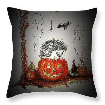 Spooky Hedgehog Halloween Throw Pillow