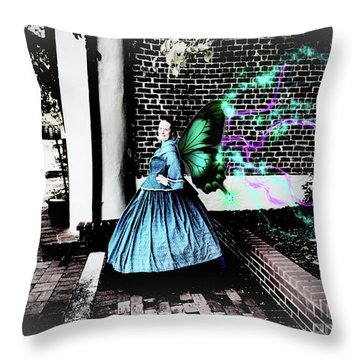 Spooky Historic Butterfly Dahlonega  Throw Pillow