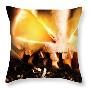 Spooky Jack-o-lantern In Darkness Throw Pillow