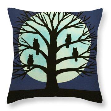 Spooky Owl Tree Throw Pillow