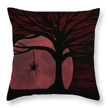 Spooky Spider Tree Throw Pillow