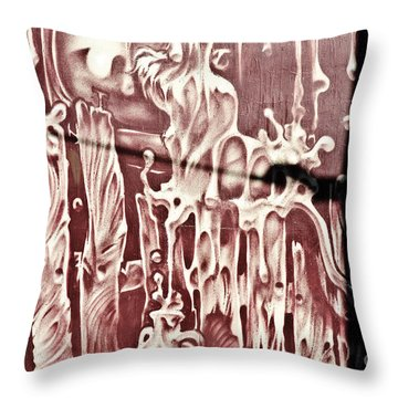 Spooky Surreal Graffiti Fence Throw Pillow