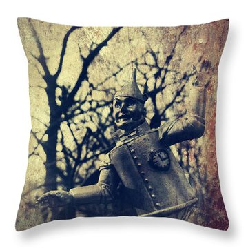 Spooky Tin Man Wizard Of Oz Throw Pillow