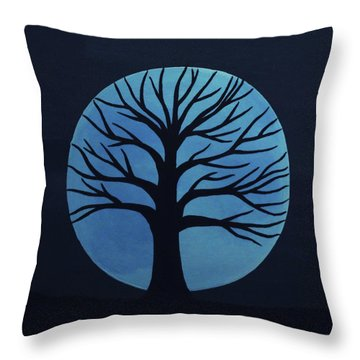 Spooky Tree Blue Throw Pillow