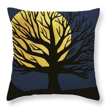 Spooky Tree Yellow Throw Pillow