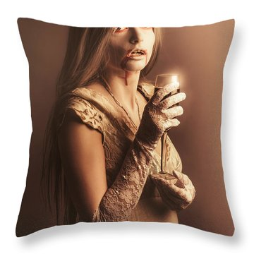 Spooky Vampire Girl Drinking A Glass Of Red Wine Throw Pillow