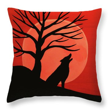 Spooky Wolf Tree Throw Pillow