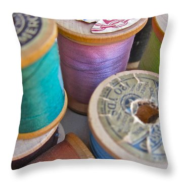 Spools Of Thread Throw Pillow by Gwyn Newcombe