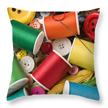 Spools Of Thread With Buttons Throw Pillow by Garry Gay
