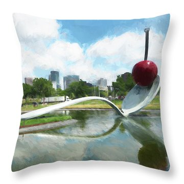 Spoon And Cherry Throw Pillow