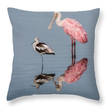 Spoonbill, American Avocet, And Reflection Throw Pillow
