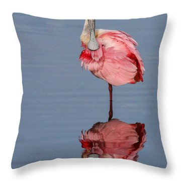 Spoonbill And Reflection Throw Pillow
