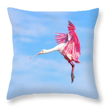 Spoonbill Ballet Throw Pillow by Mark Andrew Thomas