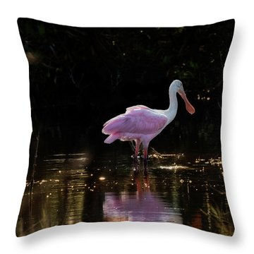 Spoonbill Fishing For Supper Throw Pillow