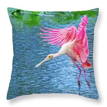 Spoonbill Splash Throw Pillow
