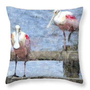 Spoonbills Hanging Out Throw Pillow by Betty LaRue