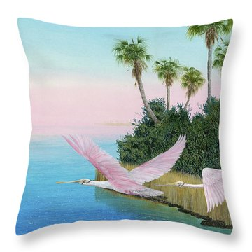 Spoonbills In Flight Throw Pillow