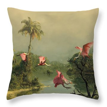 Spoonbills In The Mist Throw Pillow