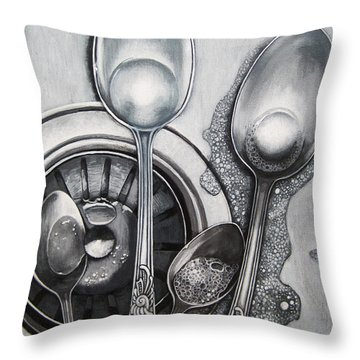 Spoons Realistic Still Life Painting Throw Pillow