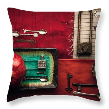 Spoons, Locks And Keys Throw Pillow