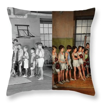 Throw Pillow featuring the photograph Sport - Boxing - Fists Of Fury 1924 - Side By Side by Mike Savad
