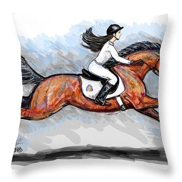 Sport Horse Rider Throw Pillow
