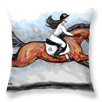 Sport Horse Rider Throw Pillow