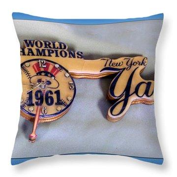 Sports Baseball 1961 Ny World Champions Clock Throw Pillow