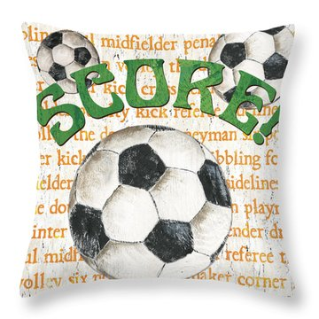 Sports Fan Soccer Throw Pillow by Debbie DeWitt