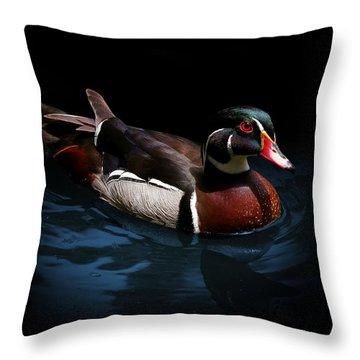 Spotlight On A Wood Duck Throw Pillow