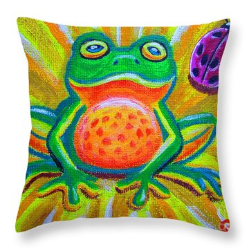 Spotted Frog And Ladybug Throw Pillow