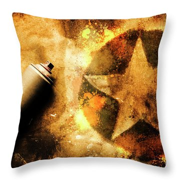 Spray Can With Army Star Graffiti Throw Pillow