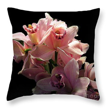 Spray Of Pink Orchids Throw Pillow
