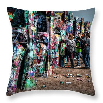 Throw Pillow featuring the photograph Spray Paint Fun At Cadillac Ranch by Randall Nyhof