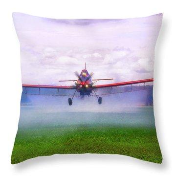 Throw Pillow featuring the photograph Spraying The Fields - Crop Duster - Aviation by Jason Politte
