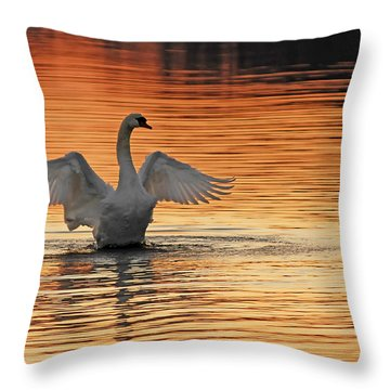 Spreading Her Wings In Gold Throw Pillow