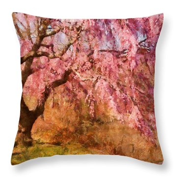 Spring - Sakura - A Beautiful Spring Day  Throw Pillow by Mike Savad