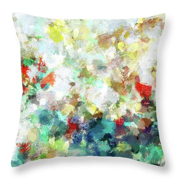 Throw Pillow featuring the painting Spring Abstract Art / Vivid Colors by Ayse Deniz