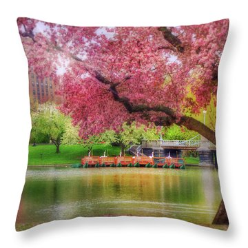 Throw Pillow featuring the photograph Spring Afternoon In The Boston Public Garden - Boston Swan Boats by Joann Vitali