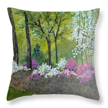 Spring Along Tega Cay Drive Throw Pillow