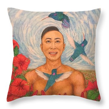 Spring Amazed By The Hummingbirds Throw Pillow by Kent Chua