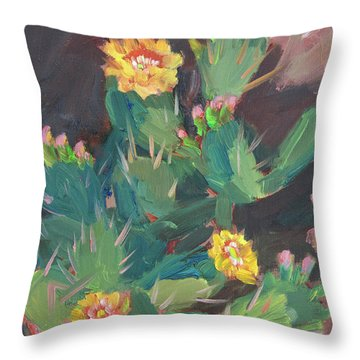 Throw Pillow featuring the painting Spring And Prickly Burst Cactus by Diane McClary