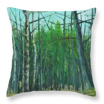 Spring Aspens Throw Pillow