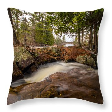 Spring At Bog River Falls Throw Pillow