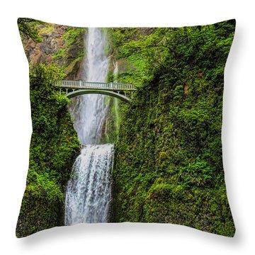 Spring At Multnomah Falls Throw Pillow