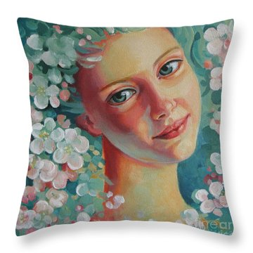 Throw Pillow featuring the painting Spring B by Elena Oleniuc