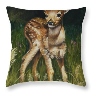 Spring Baby Fawn Throw Pillow