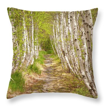 Spring Birch Throw Pillow