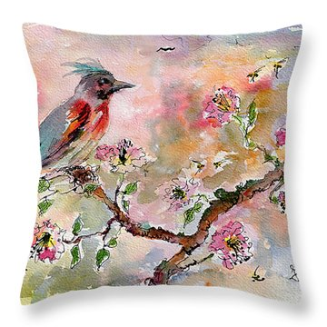Throw Pillow featuring the painting Spring Bird Fantasy Watercolor  by Ginette Callaway